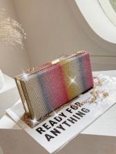 Beautiful Rhinestone Rainbow Chain Rectangle Shoulder Bags