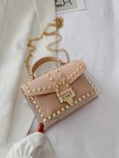 Modern Rivet Solid Chain Shoulder Bags