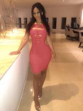 Sexy Plain Red Hollow Out Sleeveless Short Dress