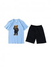Summer Cartoon Printed Two Piece Activewear Sets