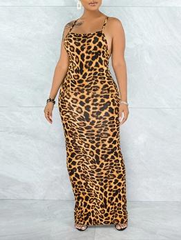 Sexy Leopard Sleeveless Backless Maxi Dress