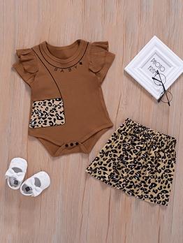 Coffee Leopard Baby Girls Two Piece Romper Sets