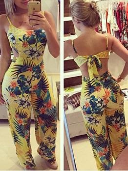 Sexy Backless Print Sleeveless Jumpsuit