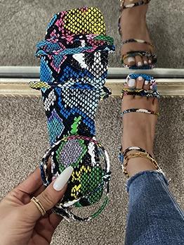 Snake Print Square Toe Sandals For Women