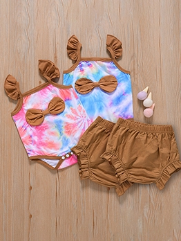 Cute Contrast Color Baby Two Piece Romper Sets