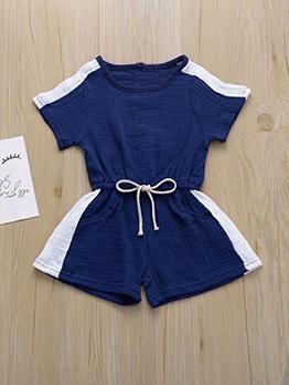 Simple Design Contrast Color Short Sleeve For Kids