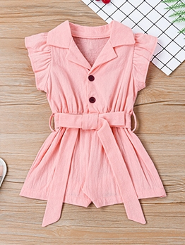 Solid Notch Collar Ruffled Sleeve Romper For Girl