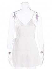 Sexy White Irregular Sleeveless Mini Dress