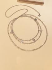Modern Solid Star Shape Three Layer Waist Chain