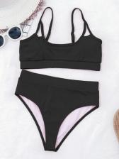 Solid U Neck Two Piece Tank Bikini Sets