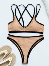 Contrast Color Scoop Neck Tank Bikini Swimsuits
