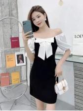 Vintage Puff Sleeve Color Block Backless Ladies Dress