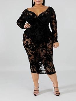 Sexy V Neck Long Sleeve Plus Size Dress