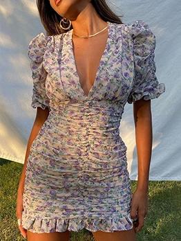 Stylish Sweet Floral Printed V Neck Dresses