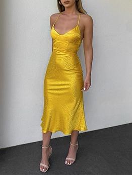 Sexy Deep V Neck Backless Yellow Sleeveless Dresses