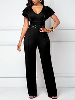 Fashion Pure Color V Neck Short Sleeve Jumpsuits