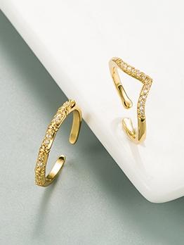 Fashion Rhinestone Geometry Golden Ring