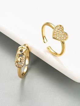 Korean Style Geometry Lovers Ring For Unisex