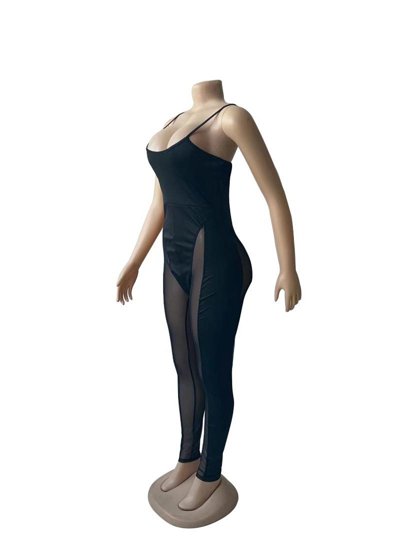 Sexy Gauze Patchwork Sleeveless Jumpsuit