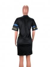 Lip Print Casual Short Sleeve T-Shirt Dress