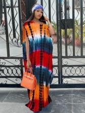 Contrast Color Baggy Short Sleeve Maxi Dress