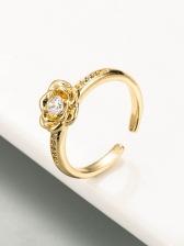 Simple Copper Inlay Zircon Adjustable Ring