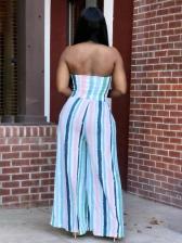 Contrast Color Striped Strapless Wide Leg Jumpsuit