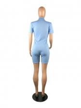 Casual Zipper Fitness Short Sleeve Romper