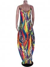Oversize Animal Print Sleeveless Maxi Dress