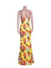 Sexy Tie Wrap Print Summer Maxi Dresses