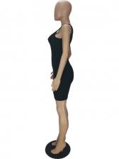 Hollow Out Black Sleeveless Short Dress