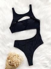Seductive Plain Black Cropped Top Bathing Suits