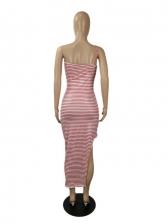 Sexy Striped Slit Sleeveless Midi Dress