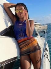 Chic See Through Printing Gauze Sleeveless Ladies Dress