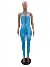 Chic Backless Printing Halter Ladies Tie-Wrap Jumpsuits