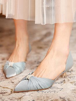 Lady Style Summer Pointed Rhinestone Mid Heels