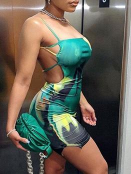 New Arrival Tie-Wrap Printing Ladies Cami Dress