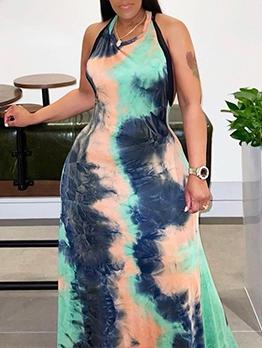 Chic Tie Dye Plus Size Halter Maxi Dress