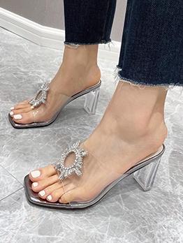 Rhinestone Design Stylish Casual Heeled Slippers