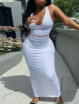 Sexy U Neck Camisole With Maxi Skirt