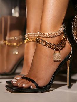 Lock Rhinestone Square Toe Heeled Sandals