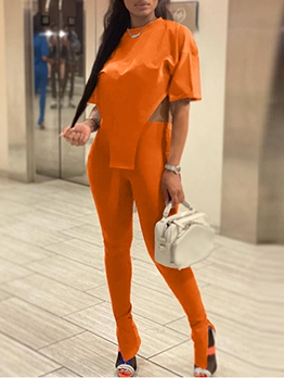 Pure Color Irregular Tees With Long Slit Pants