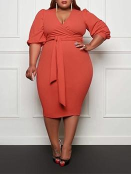 Pure Color Plus Size Half Sleeve Tie-Wrap Dress