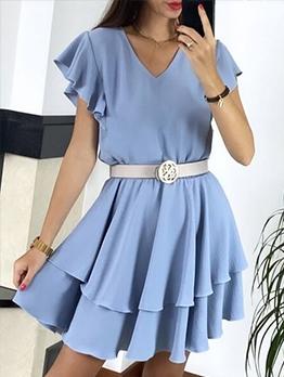 Casual Ruffle V Neck Short Sleeve Dress