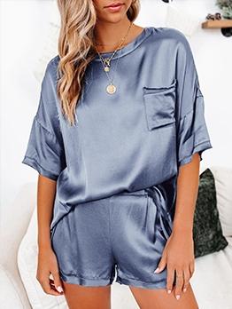 Casual Solid 2 Piece Short Pajamas Set