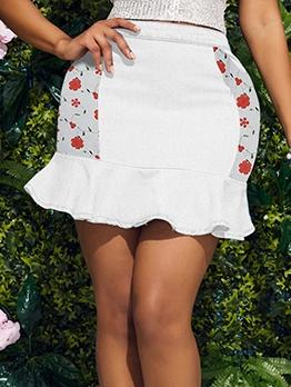 Chic Pretty Floral Agaric Laces Denim Skirt Women