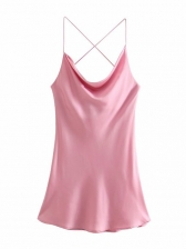 Summer Backless Sexy Pink Camisole Short Dress
