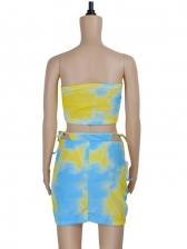 Tie Dye Printed Summer Three Pieces Skirt Sets