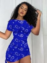 Paisley Print Vogue Short Sleeve Bodycon Dress