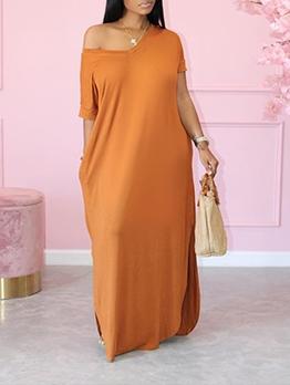 Summer Baggy Solid V Neck Maxi Dresses
